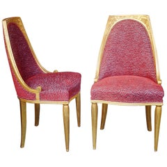 Pair of Chairs Art Deco from France, 1920, Re-Upholstery, att. to M. Dufrène