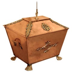 Arts & Crafts Brass and Copper Coal or Log Box