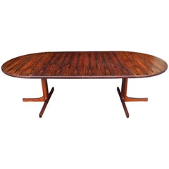 Danish Modern Round Rosewood Dining Table by Niels Otto Møller with Two Leaves