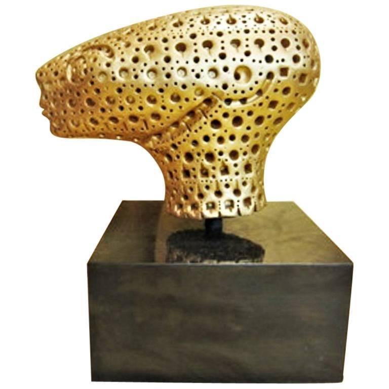 Alexander Ney, Head, Gilt Terracotta Sculpture, circa 1990