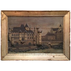Large French Framed Diorama or Painting of a Castle Scene, 19th Century
