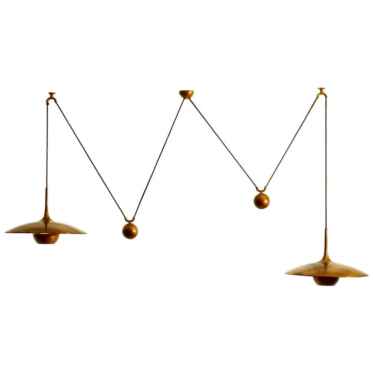 Double Counterbalance Lamps Onos 40 in Brass by Florian Schulz, 1970s