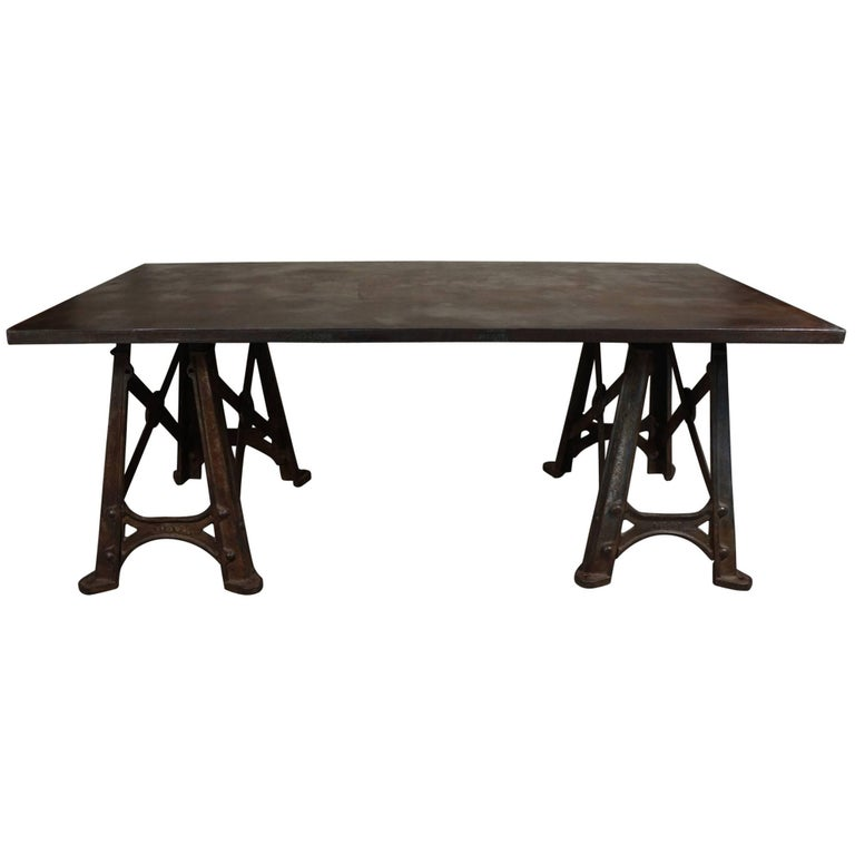 Late 19th Century French Steel Large Industrial Table