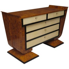 1920s Poplar Wood and Parchment Art Deco Italian Chest of Drawers