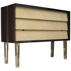 1950s Macassar Parchment and Brass Midcentury Italian Chests of Drawers