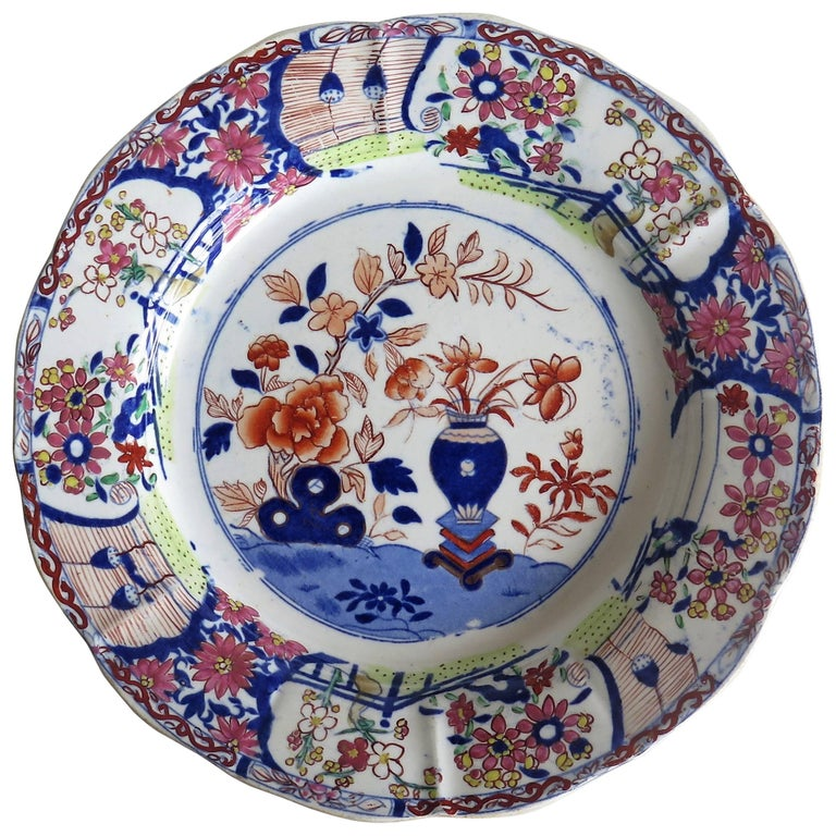 Early Mason's Ironstone Desert Plate or Dish in Vase and Rock Pattern, Ca 1815