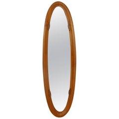 Italian Oval Teak Frame Mirror, 1950s