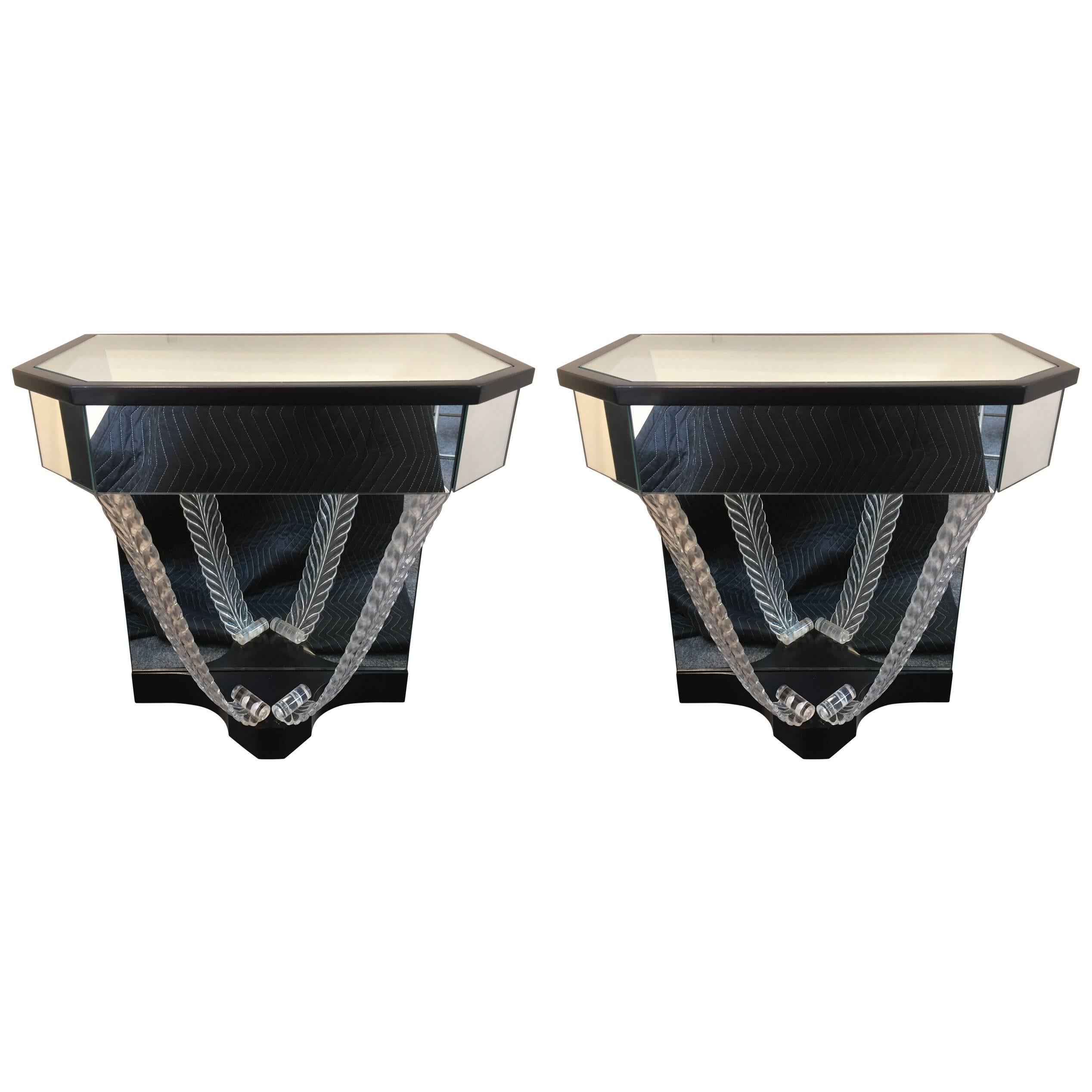 Pair of Lorin Jackson, Grosfeld House Wall Nightstands / End Tables