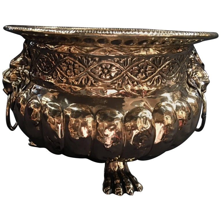 French Polished Brass Jardiniere with Lion Ring Handles, 19th Century