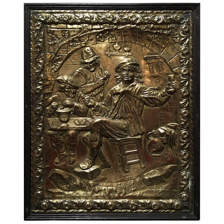 "French Frame Polished Brass Plaque Relief ""Drinking"", 19th Century"