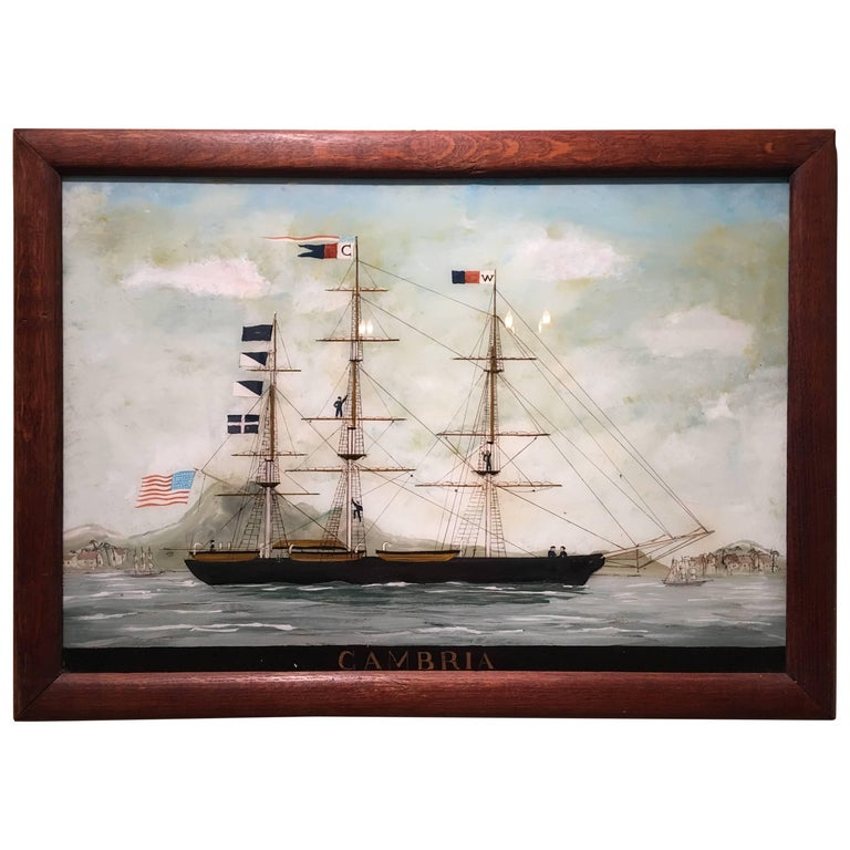 Reverse Glass Painting Of A Ship Cambria 19th Century For Sale At