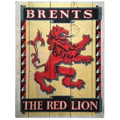 "English Pub Sign, ""Brents The Red Lion,"" Late 19th Century"