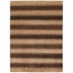 21st Century Brown and Beige Striped Gabbeh-Style Carpet