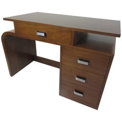 Donald Deskey for Widdicomb Walnut Asymmetrical Desk