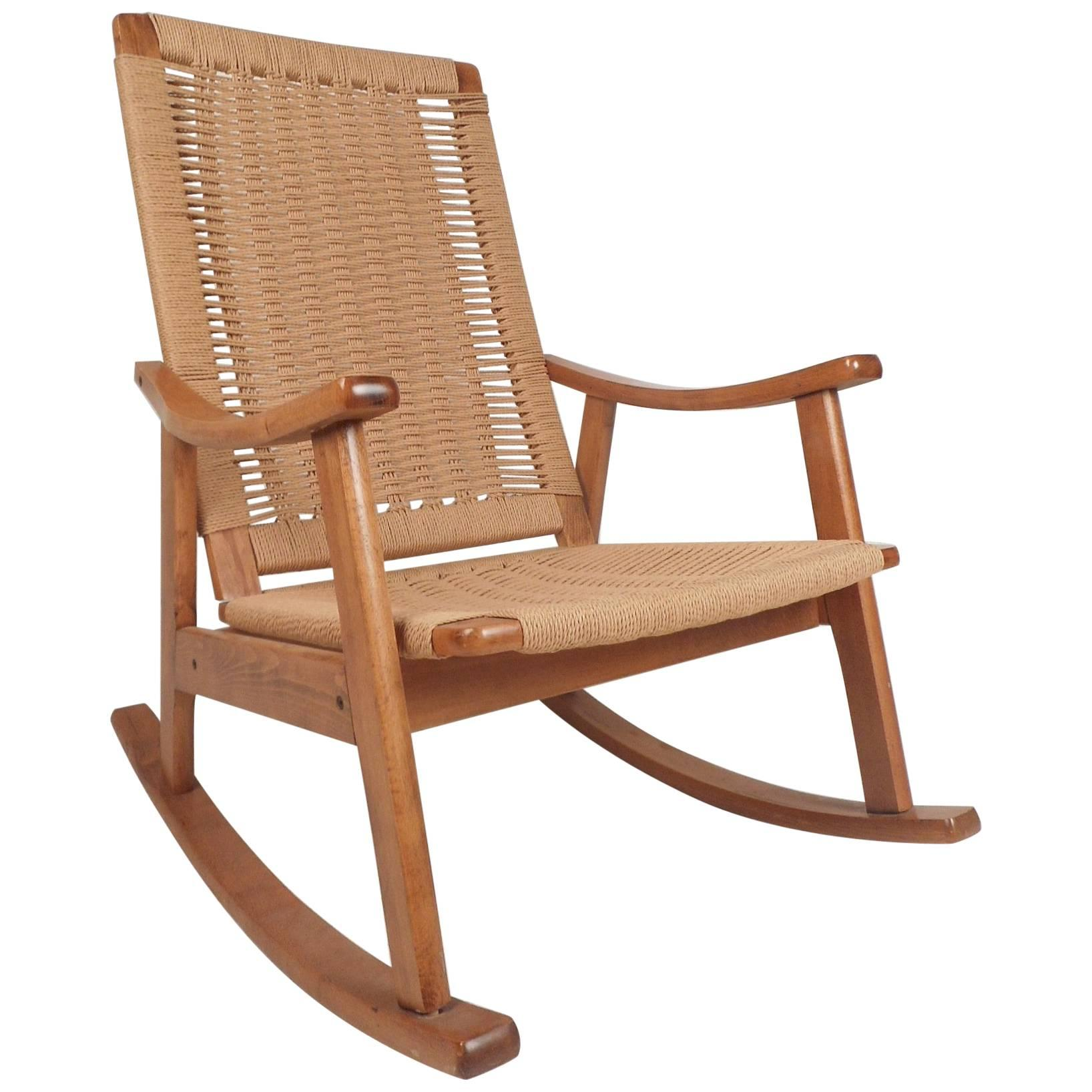 Midcentury Danish Modern Rope Rocking Chair In The Style Of Hans Wegner For  Sale