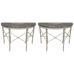Pair of French Faux Bamboo Marble Topped Demi-Lune Console Planter Tables