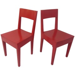 Pair of Red Wood Chairs