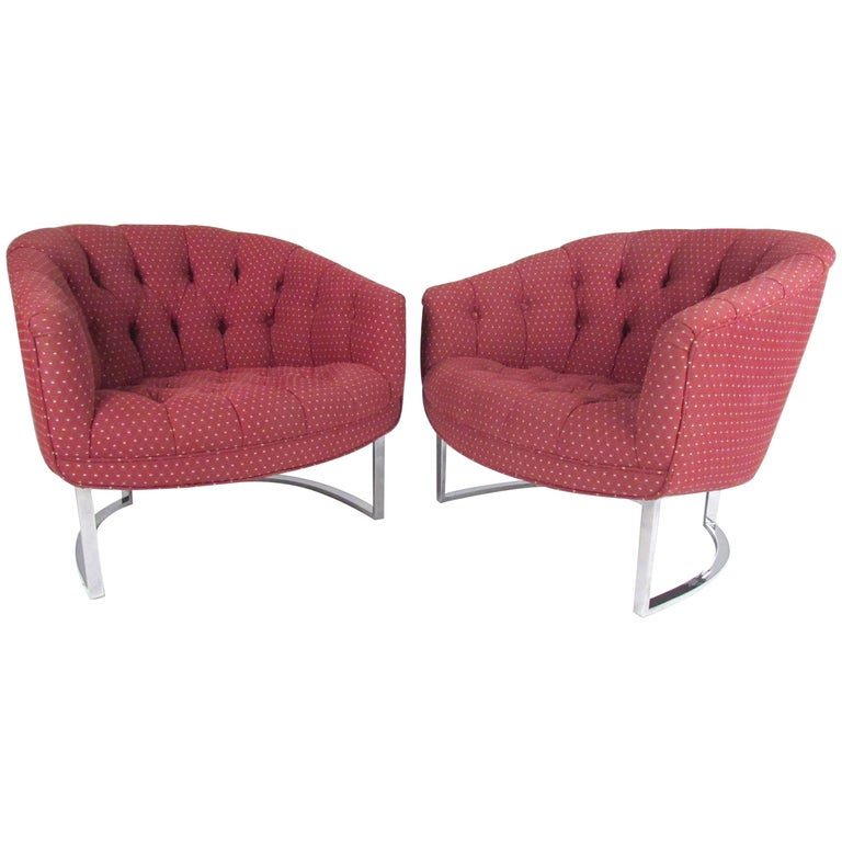 Pair of Vintage Modern Lounge Chairs after Milo Baughman