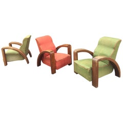 Set of Three Art Deco Armchairs Attributed to Jacques Adnet