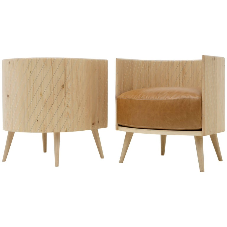 Nada Debs Pinewood Armchair, Pinewood, Mother-of-Pearl Inlays, Leather chair