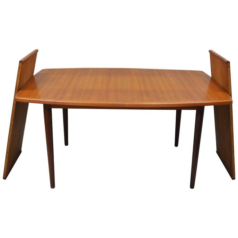 Midcentury Danish Modern Teak Dining Table With 2 Leaves By Gustav Bahus Norway For