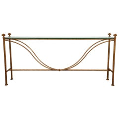 Vintage Glass Topped Wrought Iron Painted Console Table