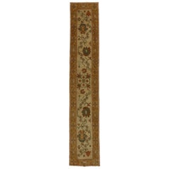 Transitional Style Turkish Oushak Runner, Narrow Hallway Runner