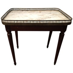 Louis XVI Style Mahogany Side Table with Marble Top Brass Gallery, 19th Century
