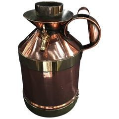 French Polished Copper and Brass 1/2 Gallon Jug or Pitcher, 19th Century