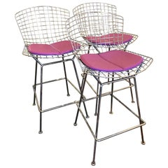 Set of Three Bertoia Counter Height Bar Stools by Knoll