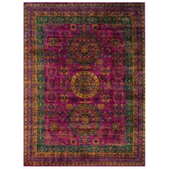 21st Century Multicolored Sari Silk Khotan Design Carpet