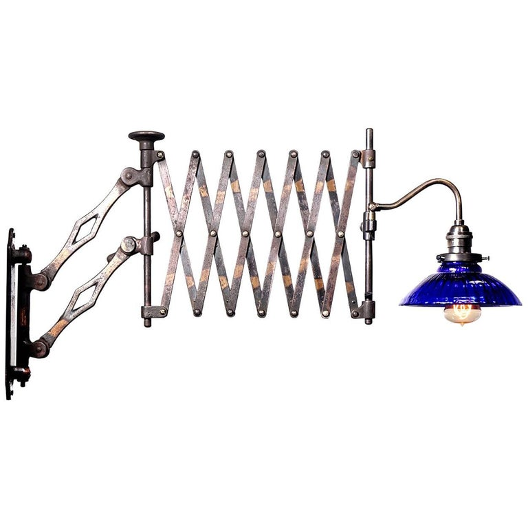 Heavy Industrial Scissor Lamp with Blue Mercury Glass Shade