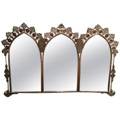 French Polished Brass Triple Mirror with Decorative Jewels, 19th Century