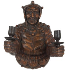 Italian Late 19th Century Large Carved Wood Wall Sconce