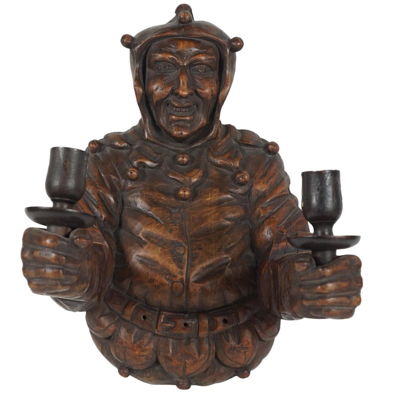 Italian Late 19th Century Large Carved Wood Wall Sconce For Sale