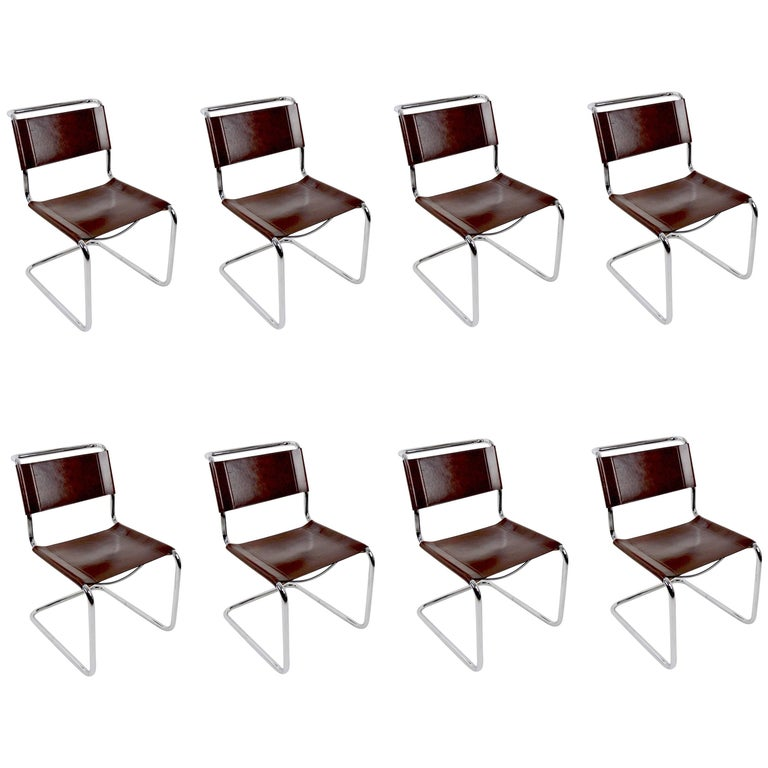 Set of Eight Dining Chairs by Breuer in Chrome and Leather