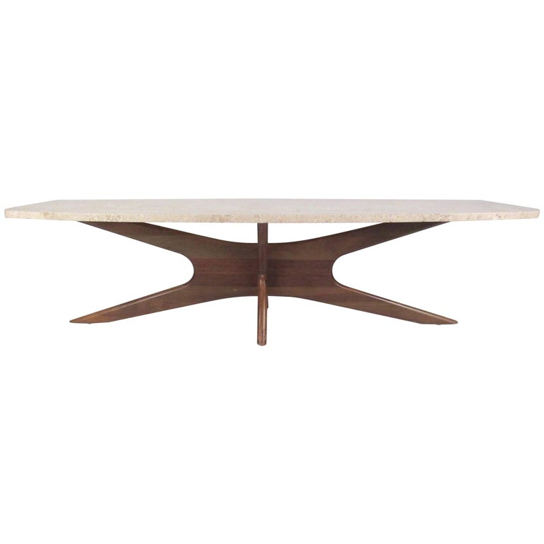 Midcentury Travertine Coffee Table after Adrian Pearsall