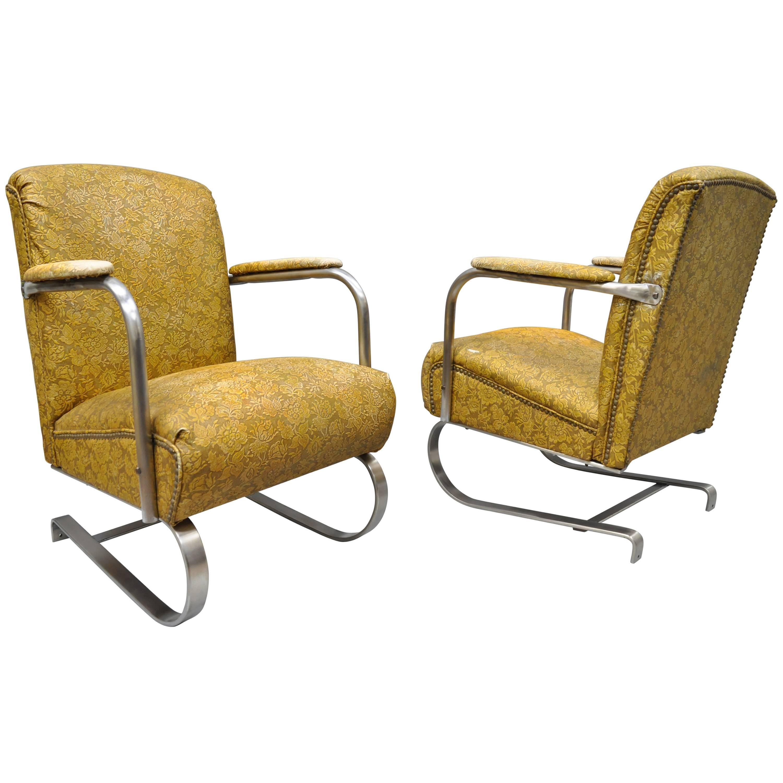 Pair of Lloyd Tubular Chrome Steel KEM Weber Style Art Deco Springer Arm Chairs