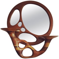 Sculptural Stacked Wood Mirror