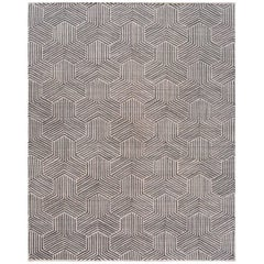 21st Century Silver and Gray Geometric Loomed Wool and Silk Carpet