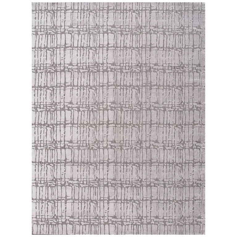 21st Century Hand Loom Silver and Gray Abstract Wool and Silk Carpet For Sale