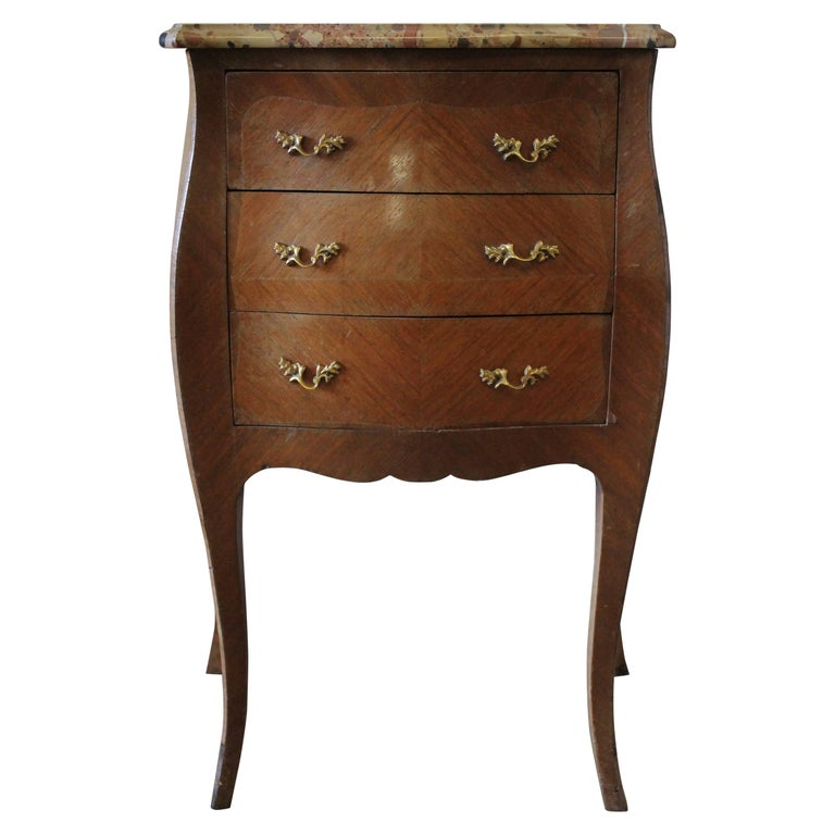 19th Century Italian Inlay Commode Side Table with Three Drawers and Marble Top
