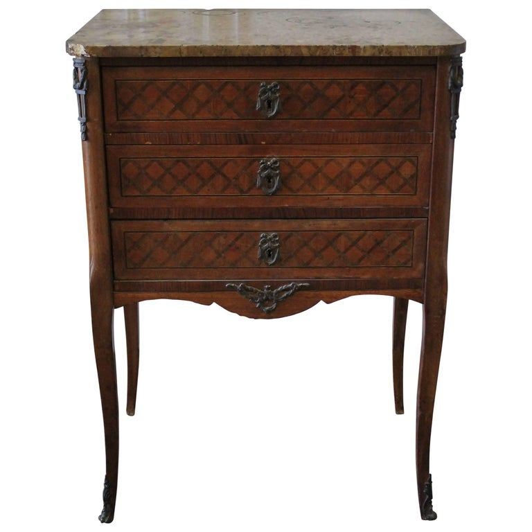 19th Century French Inlay Marble-Top Provincial Style Nightstand Table For Sale