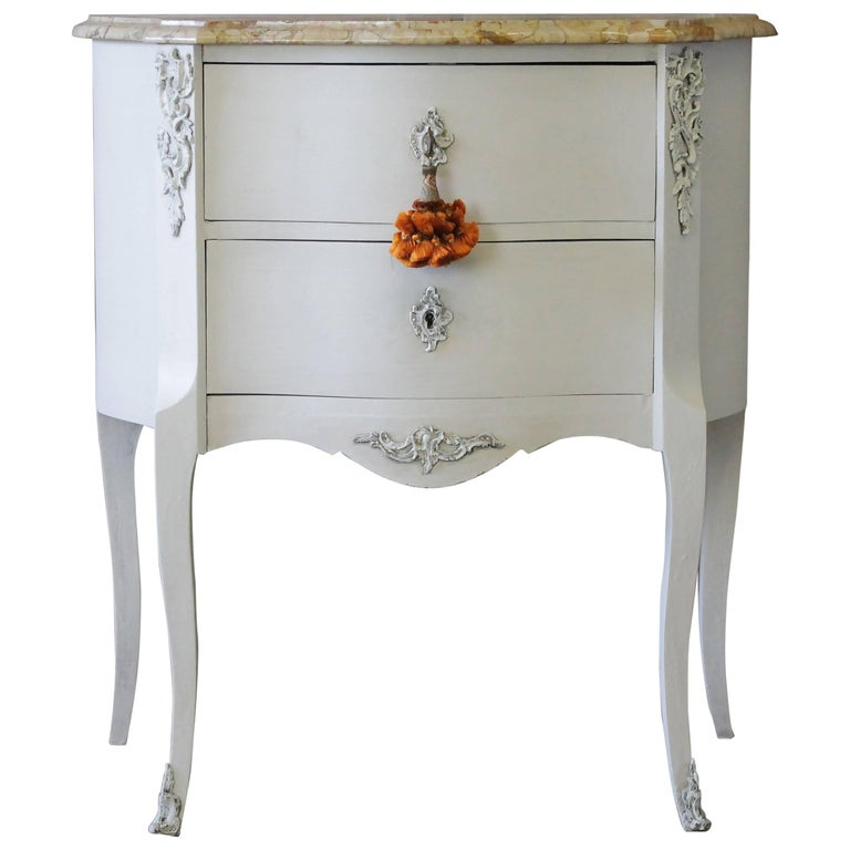 20th Century Painted French Louis XV Style Commode with Marble Top