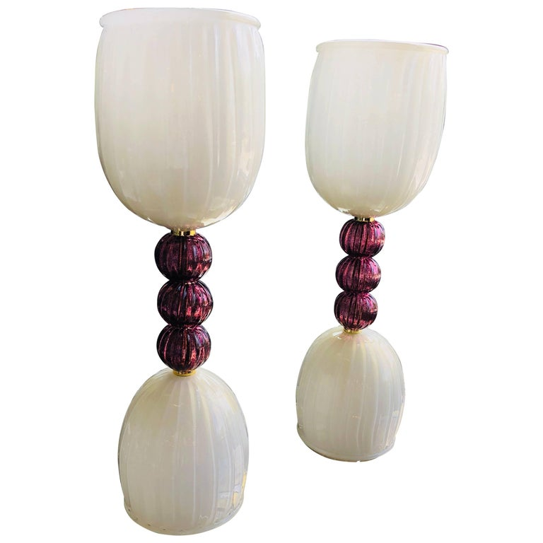 Pair of Mid-Century Modern Italian Murano Colored Glass Table Lamps
