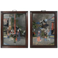 Set of Late 18th-Early 19th Century Chinese Reverse Paintings on Glass