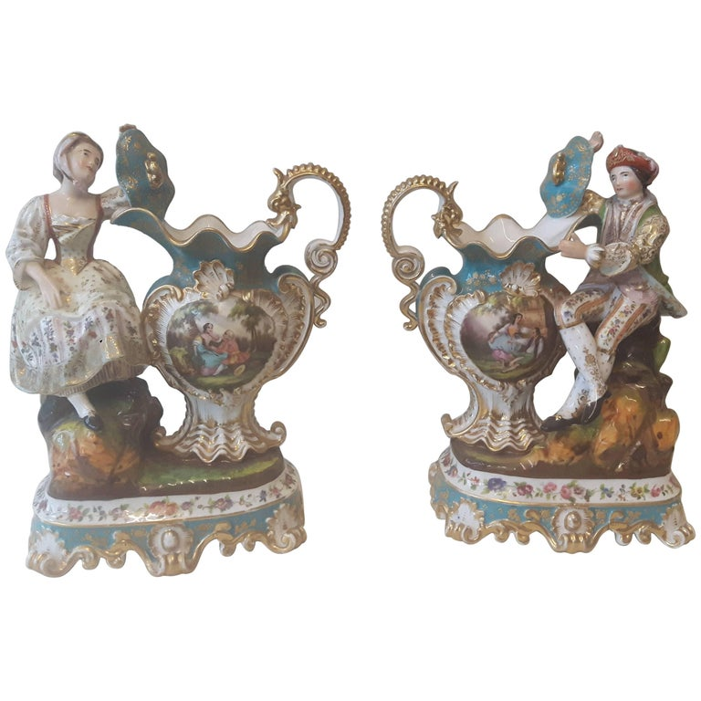 Pair of 19th Century French Figurines by Jacob Petit For Sale