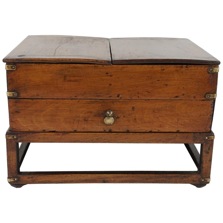 19th Century Chinese Provincial Metal Bound Wood Writing Box on Stand For Sale