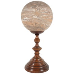 19th Century Marbled Terra Cotta Ball on Stand from the Estate of Bunny Mellon