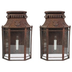 Pair of Early 20th Century French Tole Wall Mounted Lanterns